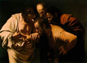 """""""The Incredulity of St. Thomas"""", Caravaggio, 1601-02"""