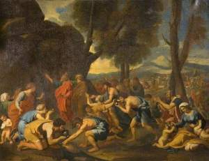 Moses Striking the Rock, Nicolas Poussin, Shipley Art Gallery